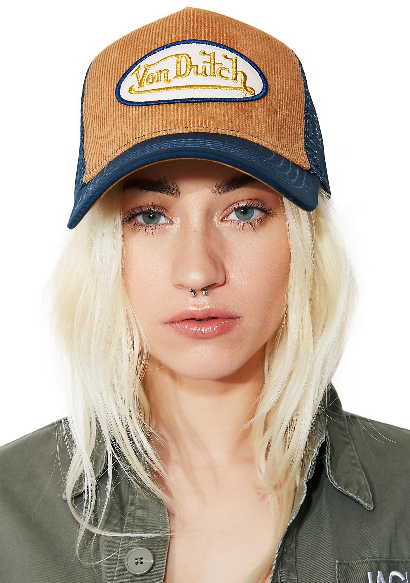 10794a70d9e699 Von Dutch Tan Logo Trucker Hat | Dolls Kill