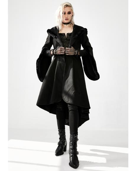 Hooded Woolen Cocktail Coat