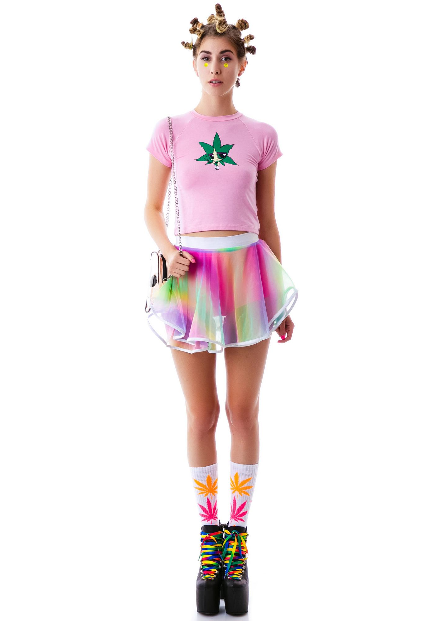 O Mighty Power Puffing Gal Crop Tee
