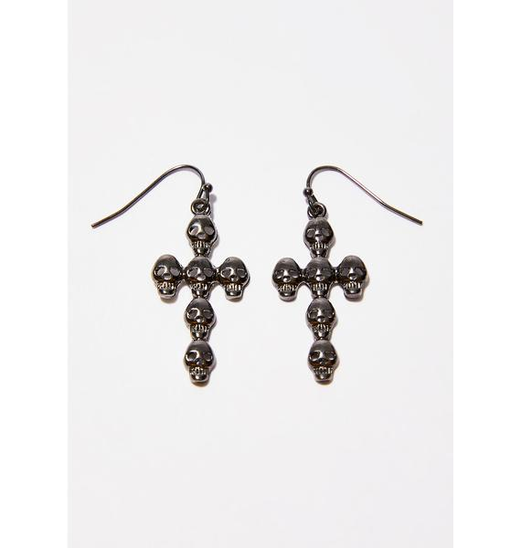 Dead Inside Cross Earrings