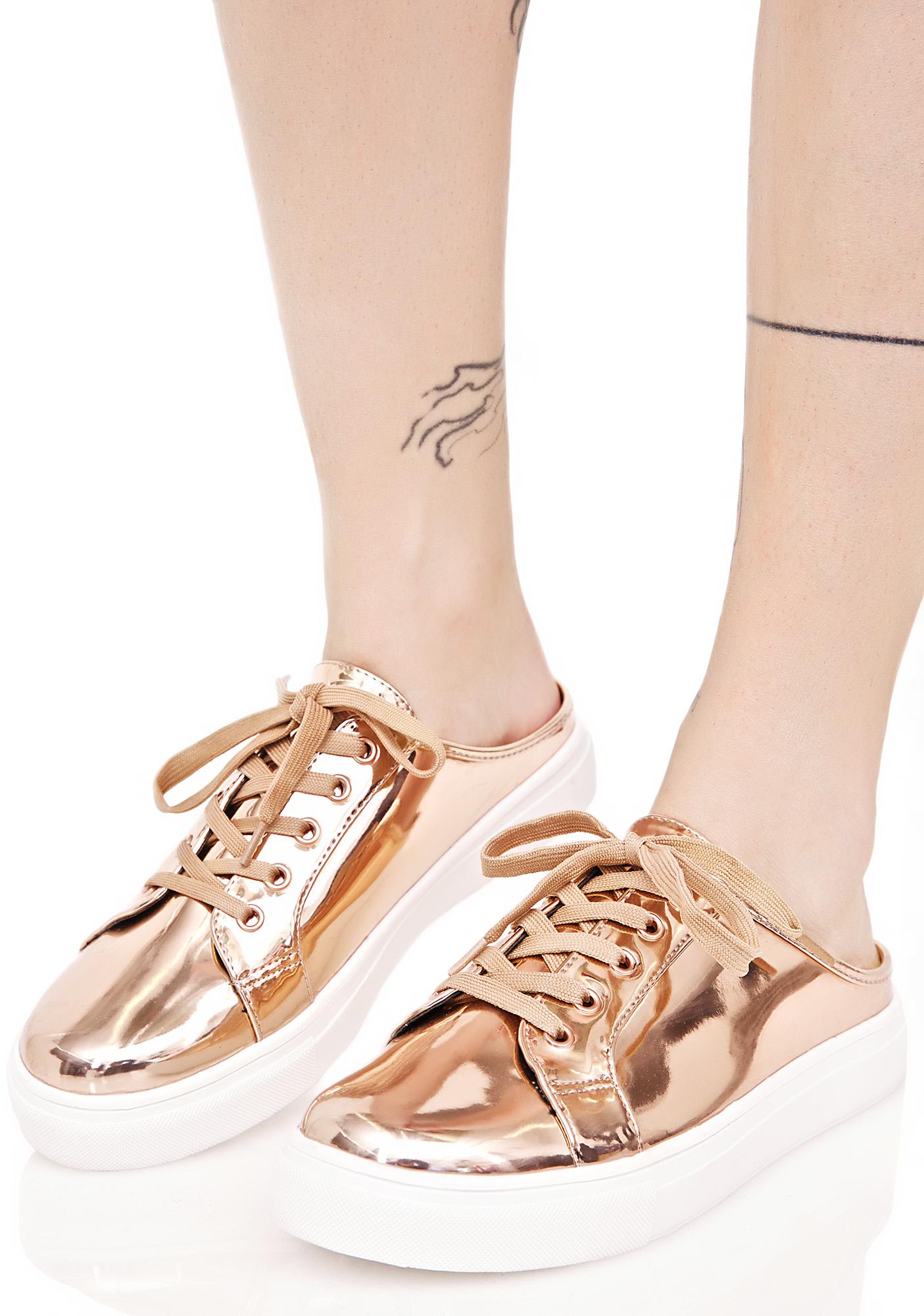 Gold Metallic Sneaker Mules