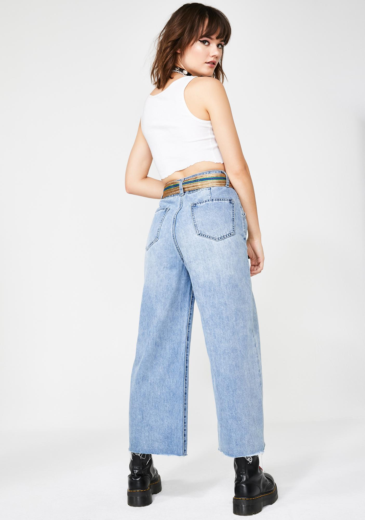c6375ca9917 Molly Bracken Wide Leg Denim Jeans With Belt | Dolls Kill