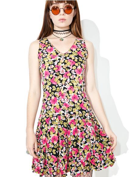 Vintage 90s Express Drop Waist Floral Dress