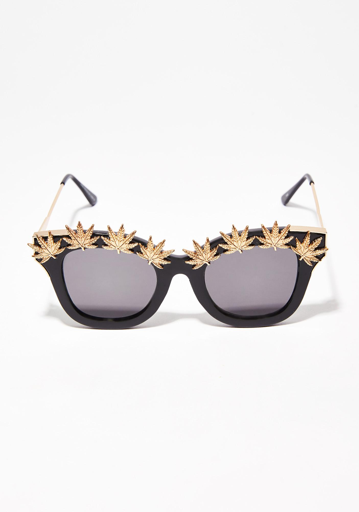 Blunted Objects Onyx Weed Leaf Embellished Sunglasses