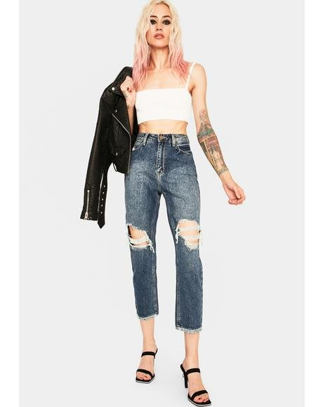 Distressed Straight Leg Girlfriend Jeans