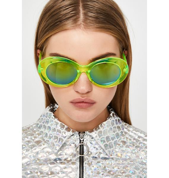 Liquid Neon Oval Sunglasses