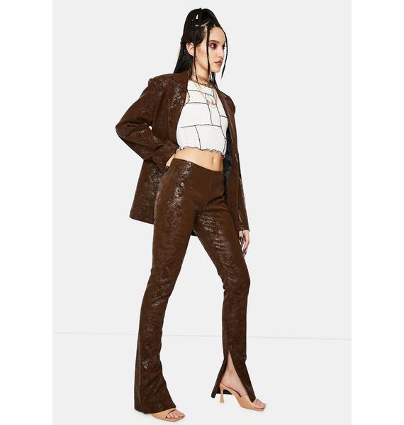 Jaded London Brown Vegan Leather Flared Leg Trousers