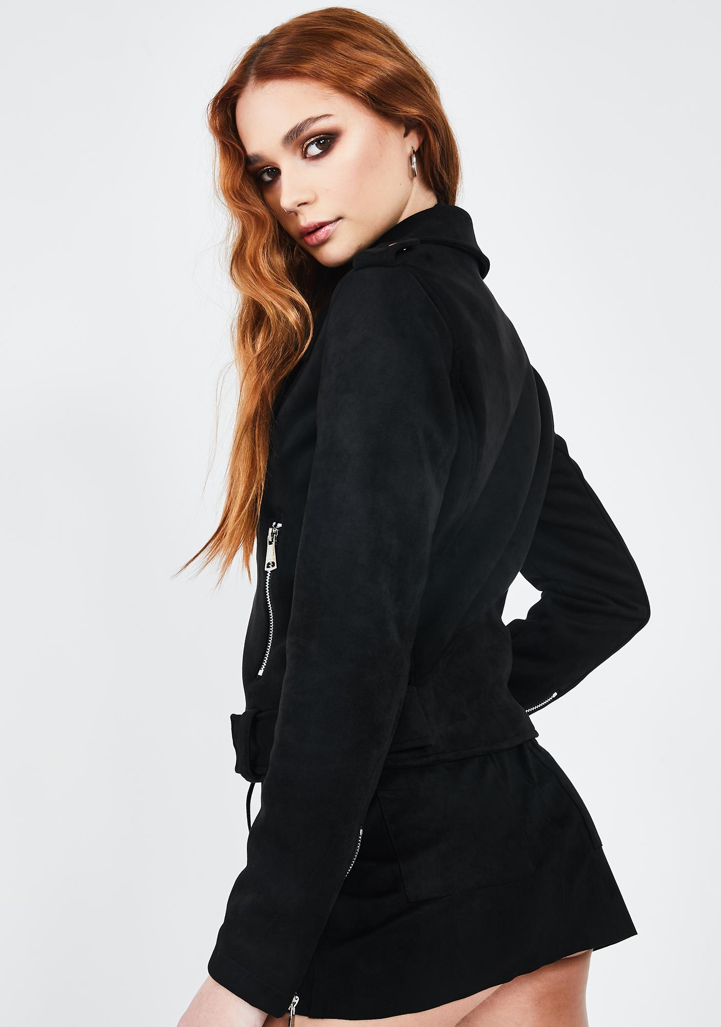 VIGOSS Black Faux Suede Moto Jacket