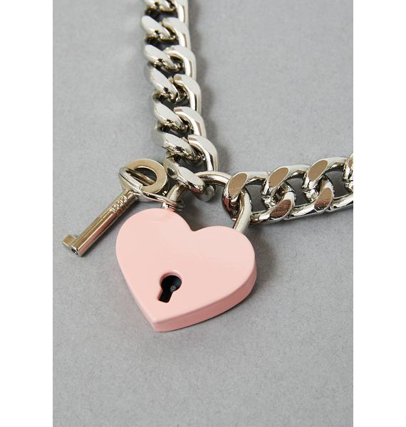 Funk Plus Pink Heart Lock Chain Necklace