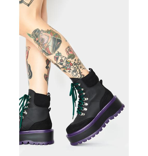 Koi Footwear Black Hydra Matrix Platform Boots
