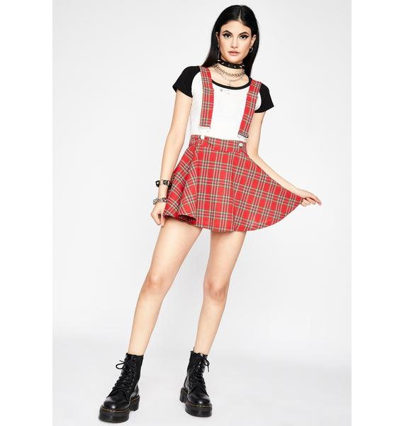 Crimson Class Act Suspender Skirt