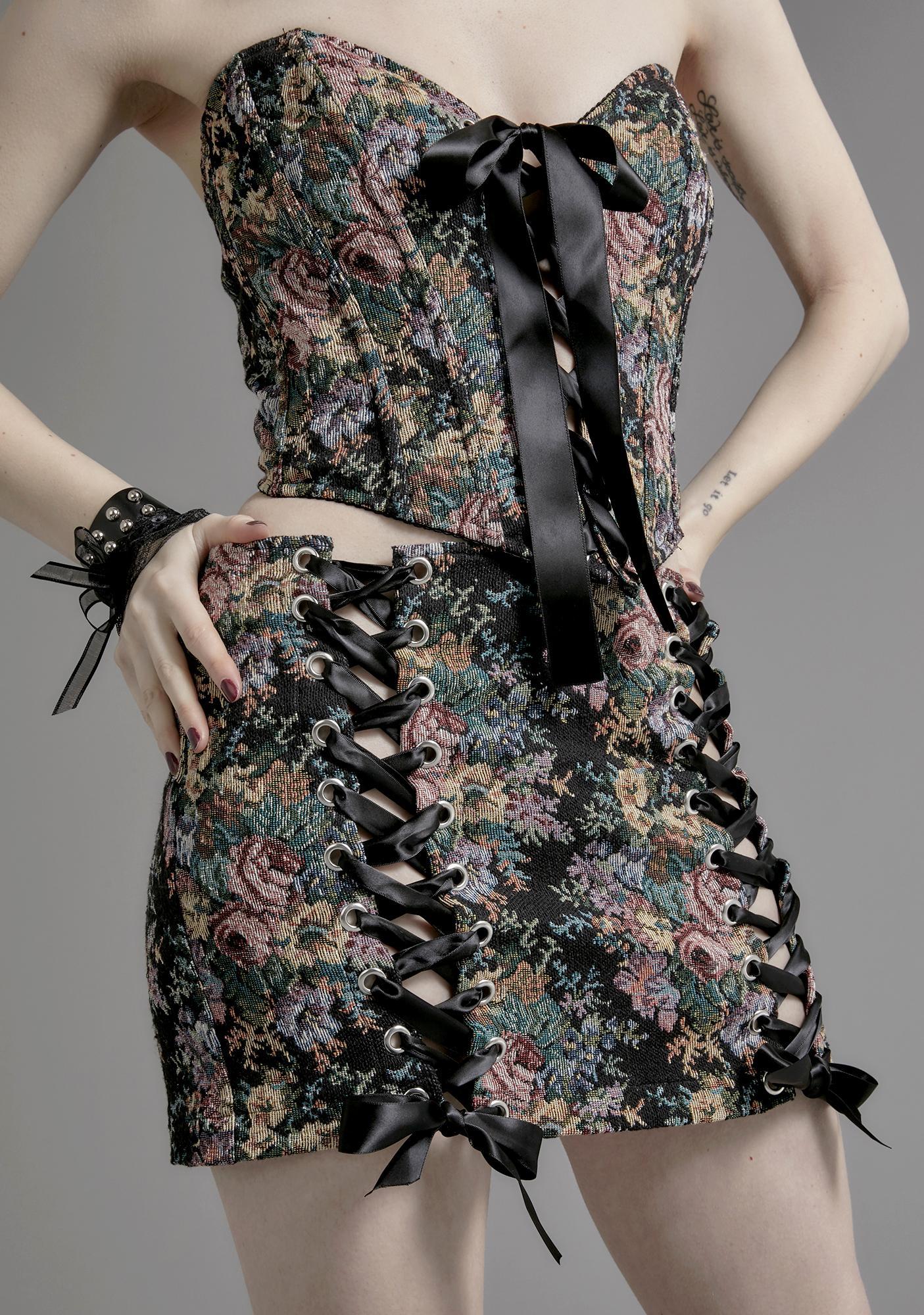 Widow Nocturnal Garden Brocade Skirt