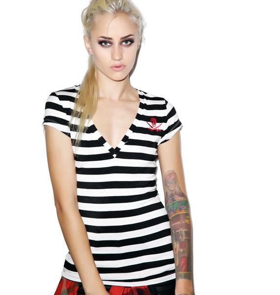 Sourpuss Clothing Jolly Roger Stripe V-Neck Tee