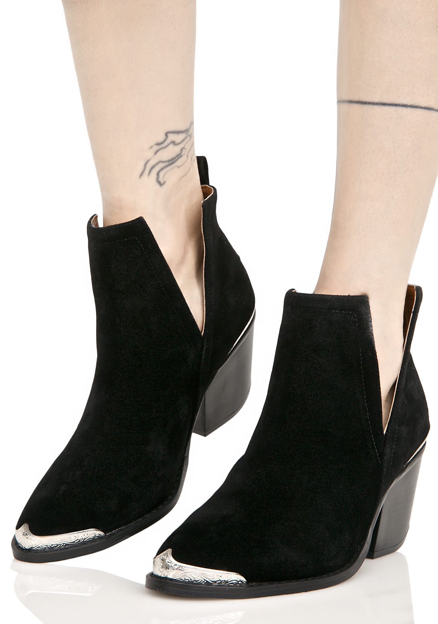Black Suede Slit Ankle Boots