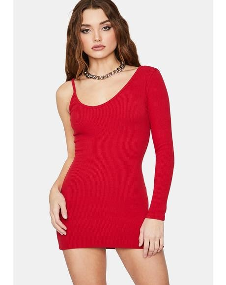 Crimson Too Annoyed One Sleeve Bodycon Mini Dress