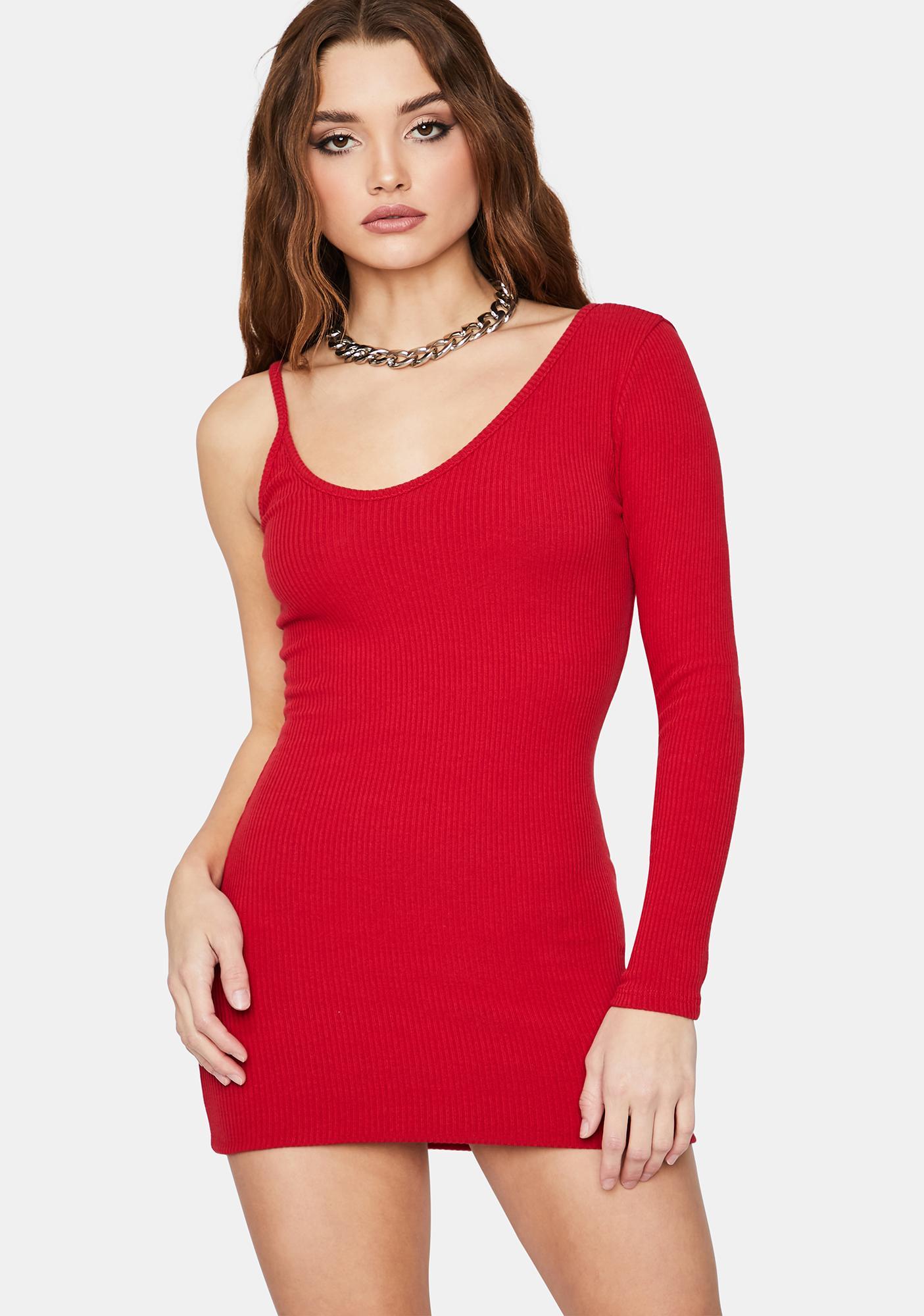 Crimson Too Annoyed One Sleeve Bodycon Mini Dress