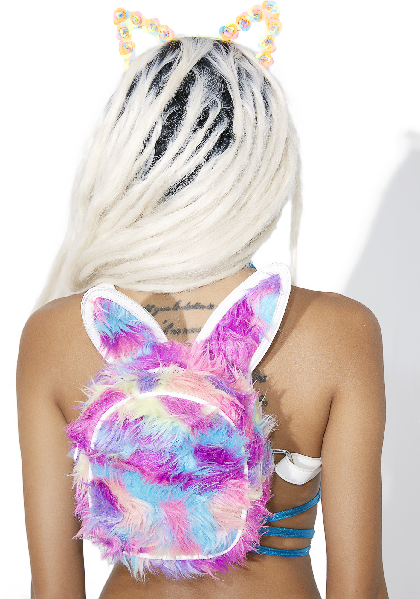Rainbow Furry Bunny Rainbow Mini Backpack