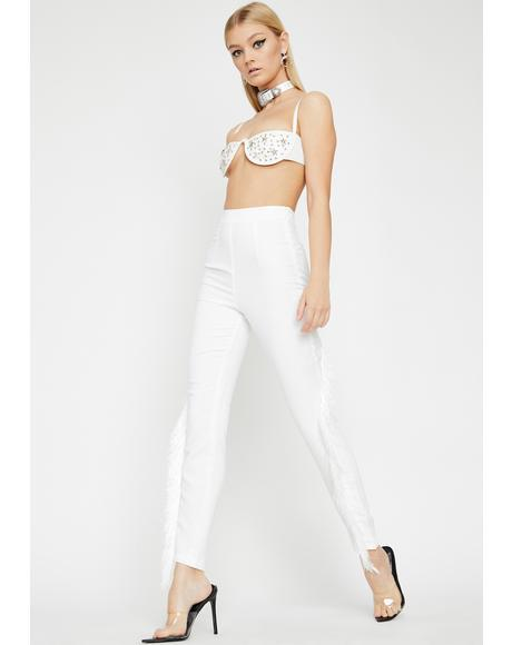 Blanc Fringe Off High Waist Pants