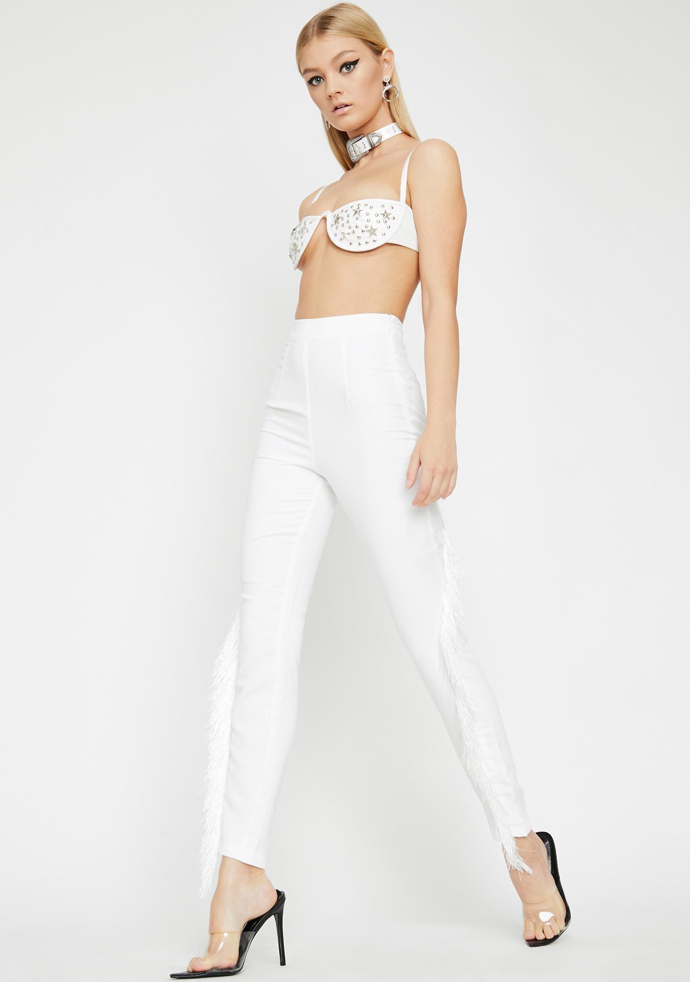 Blanc Fringe Off High Waist Pants