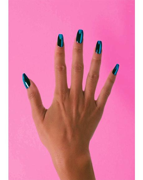 Electric Blue Coffin Press On Nails