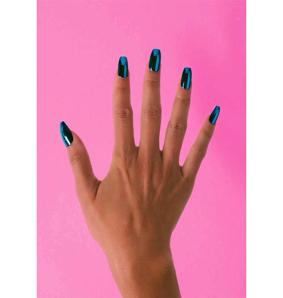 Clutch Nails Electric Blue Coffin Press On Nails