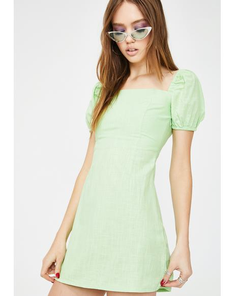 Green Pea Mini Dress