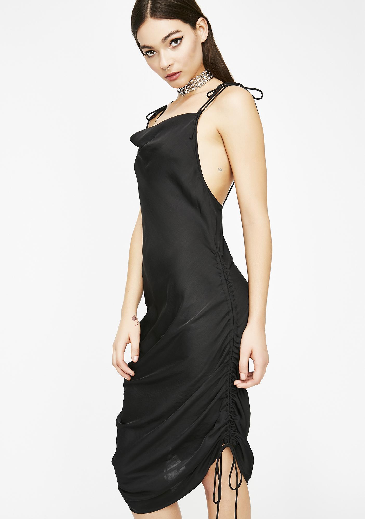 d5d310a9d8fb Ruched Cowl Neck Midi Slip Dress | Dolls Kill