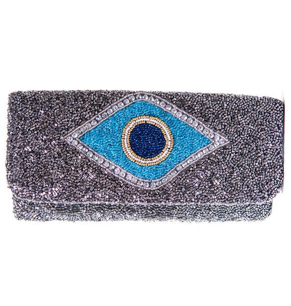 Evil Eye Beaded Clutch