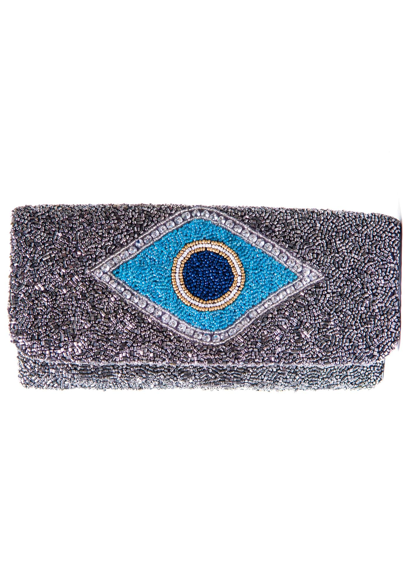 Evil Eye Beaded Clutch