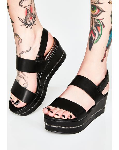 Midnight Dont Even Try Platform Sandals