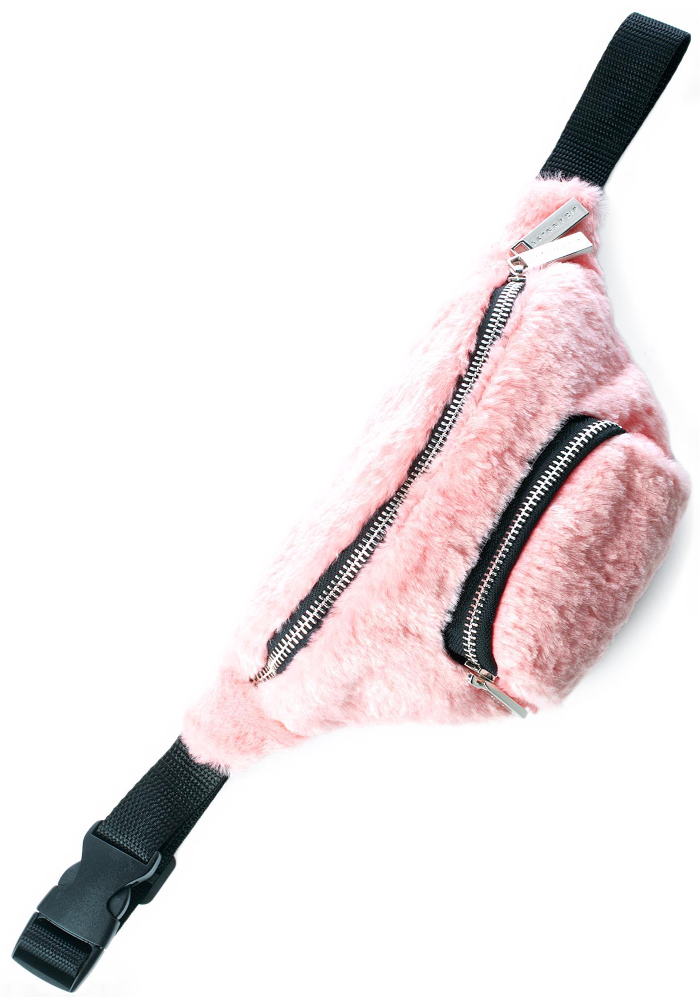 Skinnydip Pink Fluff Bumbag