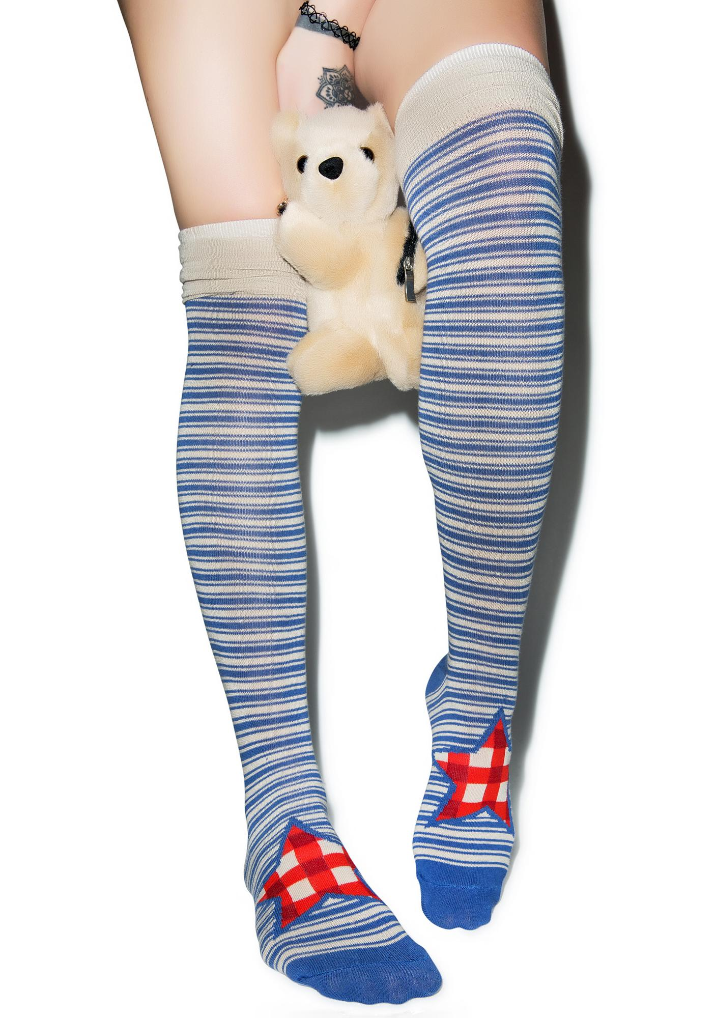Preppy Pinstripe Knee High Socks