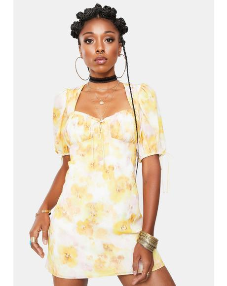 Yellow Zinna Mini Dress
