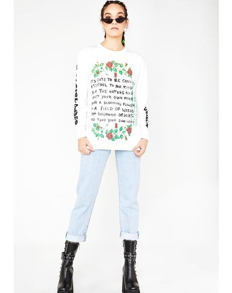 It's Cool To Be Cute Slogan Long Sleeve Top