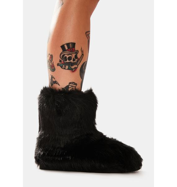 Midnight Ginger Snaps Furry Ankle Boots