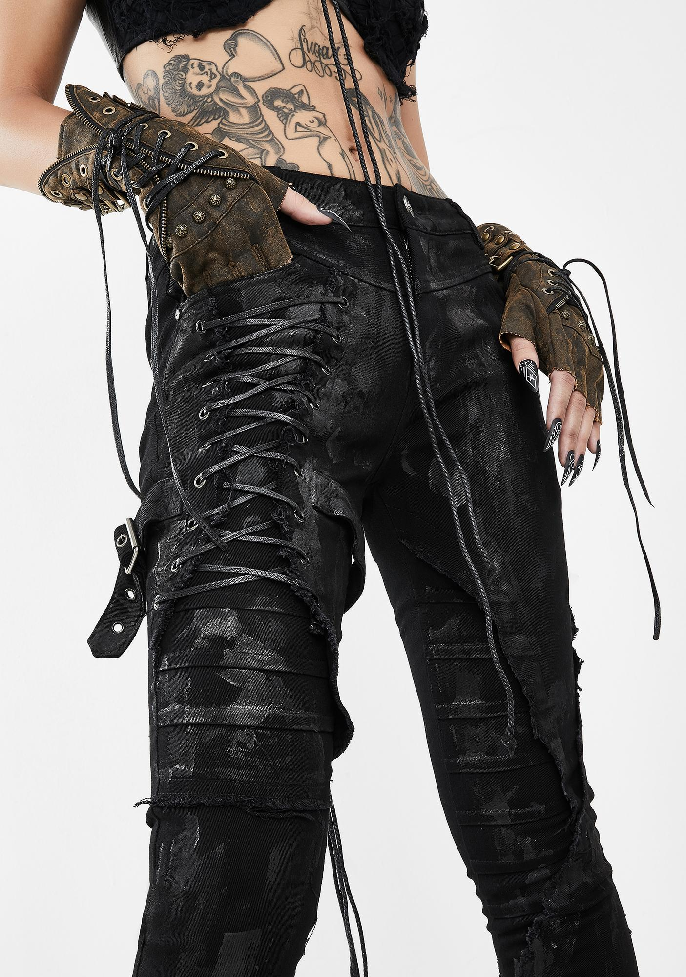 Devil Fashion Skinny Pants With Lace Panel