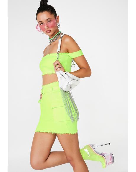 Lime Clap Back Queen Skirt Set
