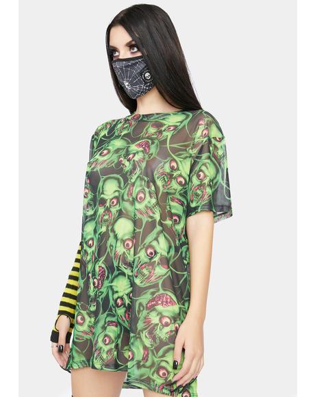 Brain Drain Mesh Tee Dress