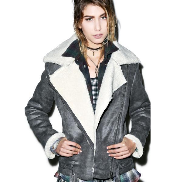 Glamorous Dudette Suedette Biker Jacket