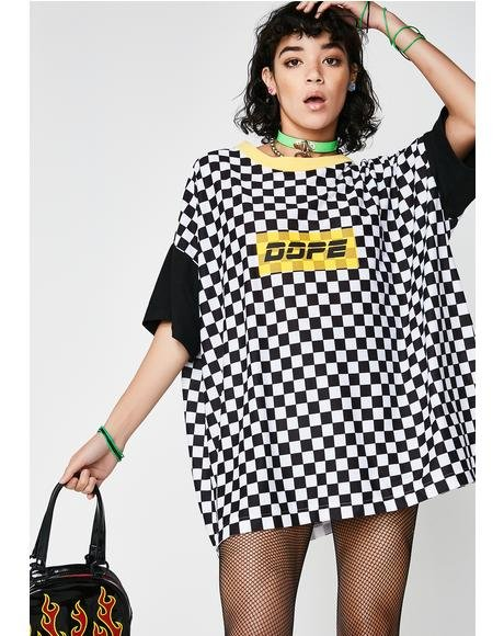 Dope Oversized Checkered Tshirt