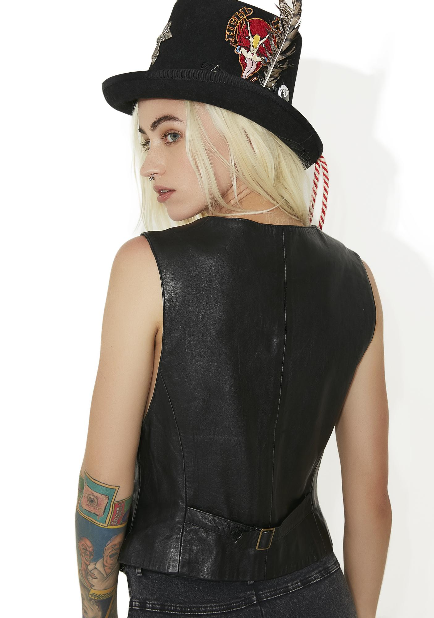"""Vintage """"Reqins"""" Black Leather Vest Top"""