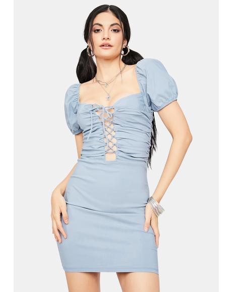 Seeking Answers Lace Up Mini Dress