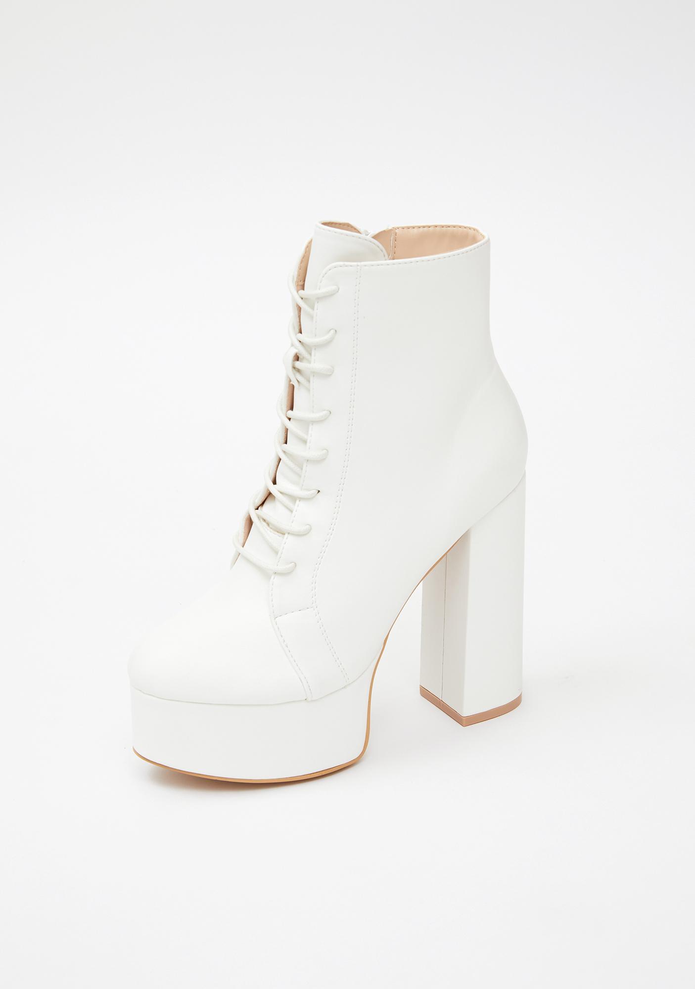 Platform Heeled Ankle Boots - Faux