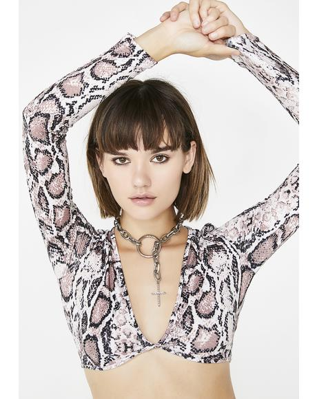 Poised Python Crop Top