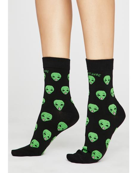 Not Human Alien Socks