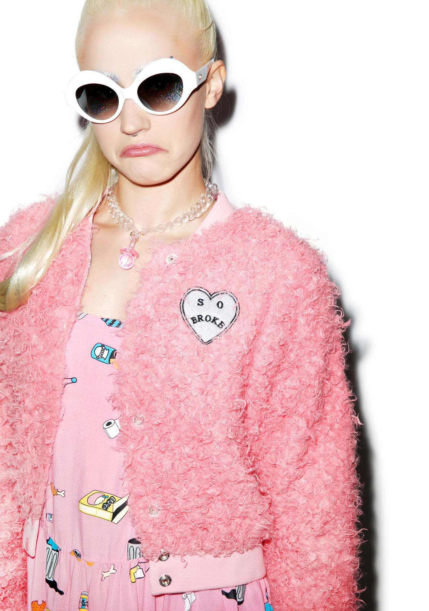 Lazy Oaf Fluffy Pink Bomber Jacket | Dolls Kill