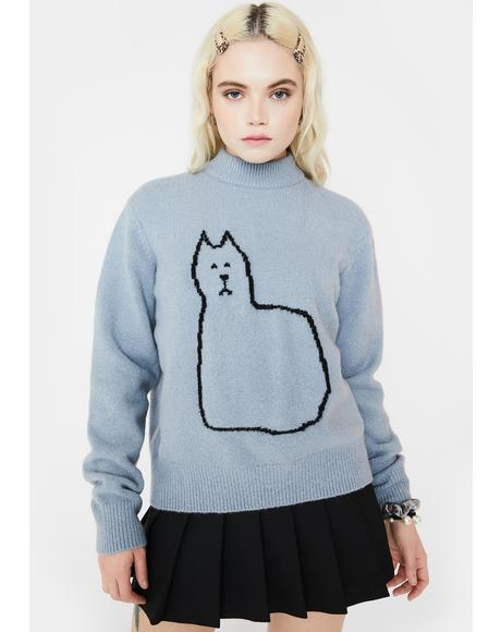 Kitty Outline Turtleneck Jumper