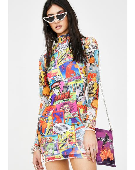 Comic Book Print Mesh Mini Dress