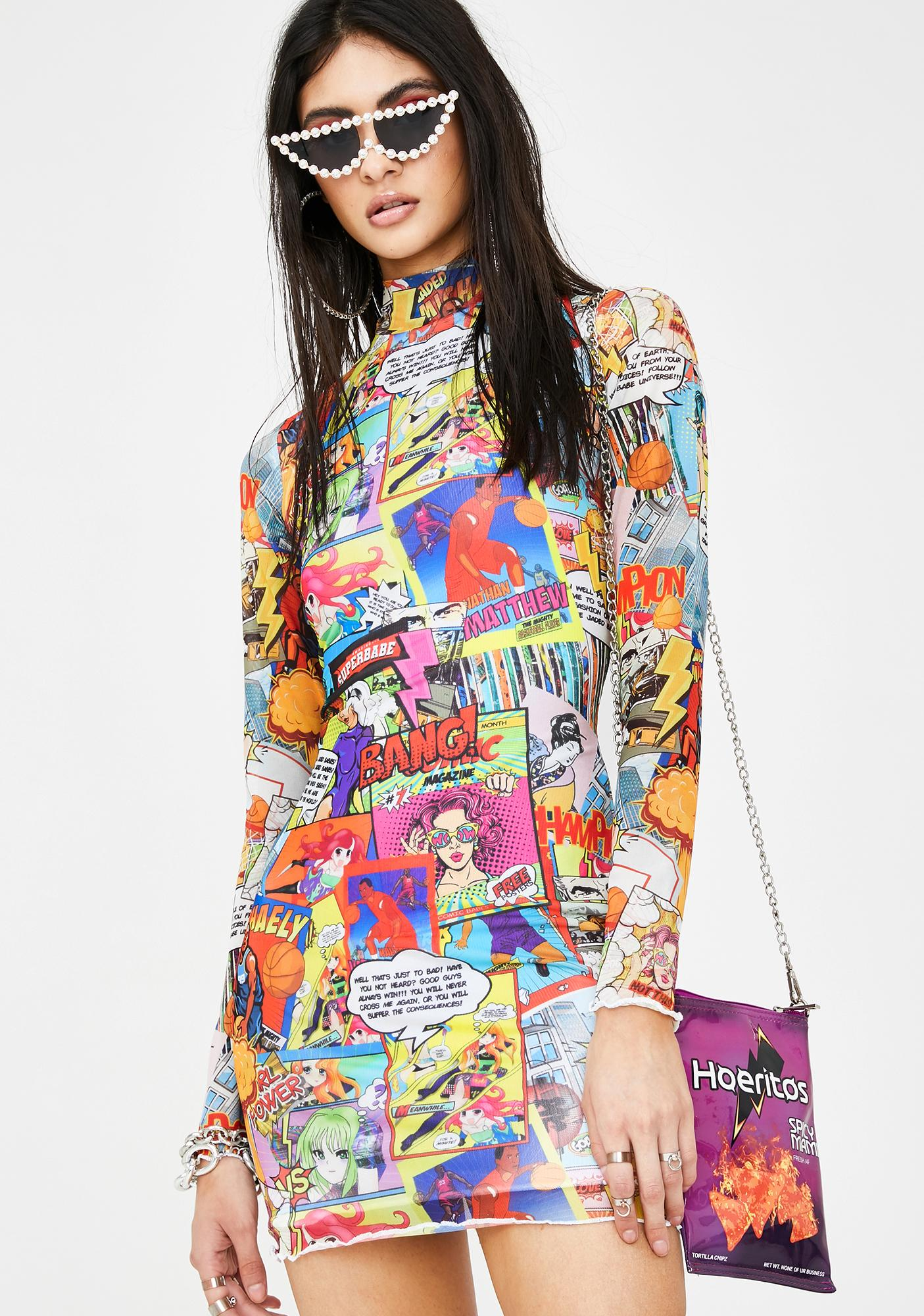 Jaded London Comic Book Print Mesh Mini Dress