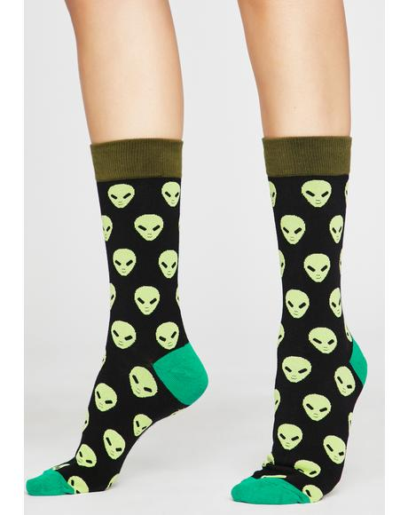 Interstellar Stares Alien Socks
